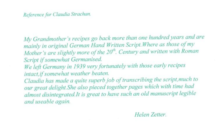Reference Helen Zetter